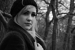 (Photography-MS) Tags: winter portrait blackandwhite blur cold hat forest person model woods focus coat posed piercing portraiture colorless tones tone woolly colourless bookeh emilylong maysimpson