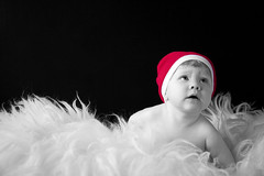 Christmas Girl (Sunna Gautadttir) Tags: christmas portrait people blackandwhite bw baby cute beautiful canon children eos babies child sweet adorable naturallight portraiture 5d onecolor littlepeople windowlight christmashat 24105 naturallighting sunna blackandwhitewithcolour onecolour christmasgirl sunnaphotography sunbeam93 sunnagautadttir sunnalind