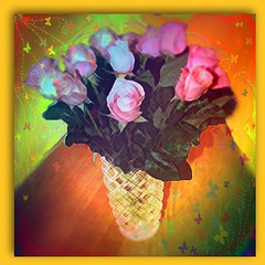 Imagine Yourself a Rose (garlandcannon) Tags: roses flower photomanipulation photoshop table glare digitalart butterflies crosshatch lacquer rainbowcolors flamingpear mrcontrast artisticflowers eyepoppingcolor cutcrystalvase
