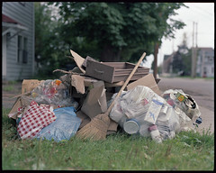garbage day (Ian Fildes) Tags: life wood old blue light sky brown color tree green love 120 film trash mediumformat grey garbage natural pentax kodak destruction dirt suburbs 6x7 midday portra whois vc 67 charlottetown 160 ianfildes