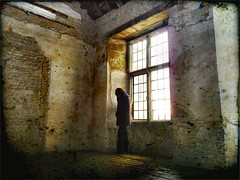 hello darkness (And Soon the Darkness) Tags: uk light shadow england woman brick simon texture window yellow stone hall kirby room garfunkel distressed deene kirbyhall ttv