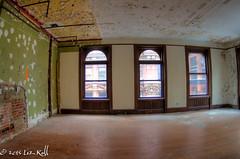 Beekman Palace (rollfilm2) Tags: wood newyorkcity urban newyork brick green abandoned window yellow architecture neglect peeling paint unitedstates floor decay manhattan interior pipes plaster financialdistrict northamerica eastcoast urbex beekmanst