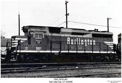 CBQ GP30 961 (Robert W. Thomson) Tags: railroad burlington train utah diesel railway trains saltlakecity locomotive trainengine geep emd gp30 cbq chicagoburlingtonandquincy fouraxle