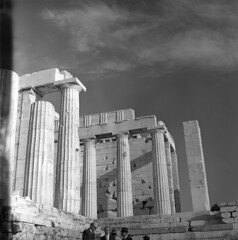 055559 12 (ndpa / s. lundeen, archivist) Tags: people blackandwhite bw building men 6x6 tlr monochrome stone architecture clouds mediumformat greek temple blackwhite ruins europe nick columns may athens tourists greece 1950s classical marbles marble acropolis 1959 dewolf ancientruins triptoeurope nickdewolf photographbynickdewolf