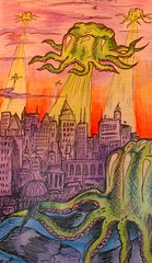 'Attack of the Lime Jelly Octopi' - sketch in my moleskine (Flamenco Sun) Tags: city art moleskine notebook sketch drawing fineart alien attack scifi octopus draw octopi biro ballpoint