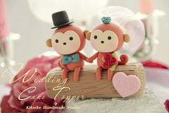 Wedding Cake Topper-love monkey (charles fukuyama) Tags: wood wedding forest monkey couple veil handmade anniversary bowtie bouquet sweetheart lovely custom tulle brideandgroom sculpted headdress cakedecoration weddingcaketopper bridalhair claydoll