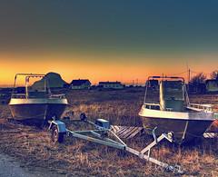 Boats on land HDR V1 [Daily Project] (DavGoss) Tags: blue sunset sky orange mountain yellow norway photoshop canon eos boat skies land hdr nordland photomatix 550d cs5 ti2 sleneset davgoss