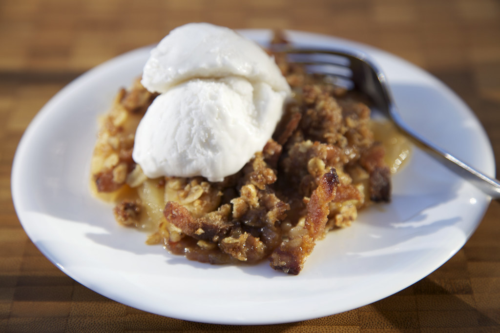 maple, bacon apple crisp