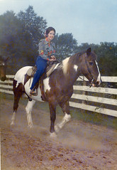 Mom on horseback (epicharmus) Tags: ranch trip summer vacation horse ny newyork mother upstate adirondacks resort lakegeorge upstatenewyork 1973 horsebackriding warrencounty daddino oropallo marieoropallo mariedaddino mariadaddino mariaoropallo roaringbrookranch