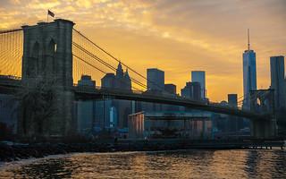 Beautiful Brooklyn Bridge At Sunset