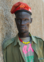 Toposa tribe man with a olympic games canadian red beret, Omo valley, Kangate, Ethiopia (Eric Lafforgue) Tags: africa portrait people canada man color men vertical skinny outdoors necklace adult picture tribal blackpeople omovalley ethiopia tribe beret adultsonly oneperson frontview olympicgames hornofafrica nomadic eastafrica thiopien etiopia abyssinia tribesman onepersononly ethiopie realpeople etiopa humanface lookingatcamera onemanonly waistup  etiopija 1people ethiopi indigenousculture  ethnicgroup etiopien etipia  etiyopya     topossa 4549years   kangate    matureadultsonly blackethnicity kangatan onematureadultonly ethio161734