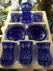 cut glass tea glasses - blue (ShopTurkey) Tags: turkey shopping turkish grandbazaar teasets mosaicglass coffeesets turkishtile