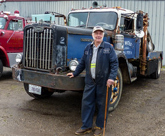 Tom And One Of His Autocar Wreclers (J Wells S) Tags: ohio portrait rust rusty crusty towtruck bigrig candidportrait wrecker vintagetruck fairborn sleepercab aths historictruck americantruckhistoricalsociety alltypesoftransport jerryhoward holmestwinboom tomrohrich 250cumminsdieselengine roadrangertransmission howardtrucking 1959autocardc75