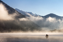 Lone fisherman in the mist (MC-80) Tags: mist lake misty fog boot austria see boat tirol fisherman nebel lone tyrol angler fischerboot ster nebelstimmung