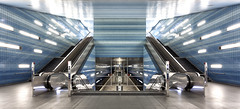 """Perfect Symmetry at Metro Station """"berseequartier"""" in Hamburg (cptmauser90) Tags: blue train underground subway metro hamburg tube trains symmetry ubahn ubahnstation metrostation symmetrie"""