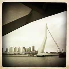 Erasmusbrug en HD10 (Hipstagirl 2011) Tags: skyline rotterdam nederland brug kopvanzuid erasmusbrug iphone zuidholland cityshots wilhelminapier hd10 hipstas iphoneography hipstamatic hipstamatics havendienstboot