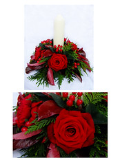 Candle Ring Table Decoration (Vicky Spence) Tags: winter wedding red flower rose berries grandprix bouquet skimmia baccara kirkleyhall