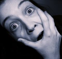 Blue Me (ambeizzi) Tags: blue portrait girl female eyes hand photoshopped tint scarey grab