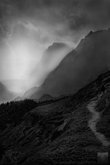 En Route - Valais, Switzerland (david.richter) Tags: summer blackandwhite bw alps nature rain canon landscape eos rebel raw hiking sac wideangle glacier hut valley thunderstorm zermatt matterhorn alpen wallis valais xsi zmutt blackwhitephotos davidrichter 450d schnbiel rebelxsi cervis tokina1116mmf28atx116prodx wwwdavidrichterphotographycom marmotoracle