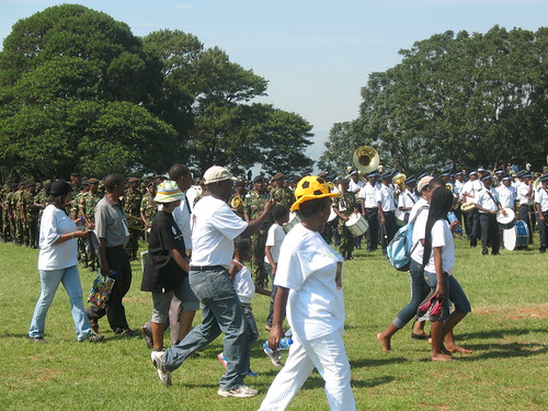 Bands from the Police and Army leading the WAD march