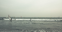 People Windsurfing in the Sea,Kanagawa Prefecture, Japan, (flaminghead Park) Tags: sea sky people reflection nature japan vertical sailboat outdoors tokyo day kamakura horizon transportation windsurfing leisure rippled copyspace twopeople scenics defocused colorimage kanagawaprefecture