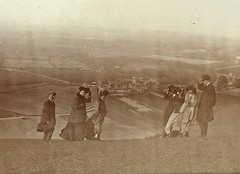 Family members on Devil's Dyke in England 1908 (Aussie~mobs) Tags: henrymobsby earlyqueenslandphotographers 1908 devilsdyke windy vintage aussiemobs