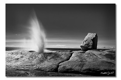 Bicheno Blowhole, Tasmania, Australia (Matthew Stewart | Photographer) Tags: ocean sea sky white seascape black beach water lines rock rocks hole matthew australia blow stewart blowhole tasmania bicheno 22122011