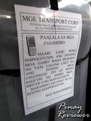 MGE reminders at the back of the front seat