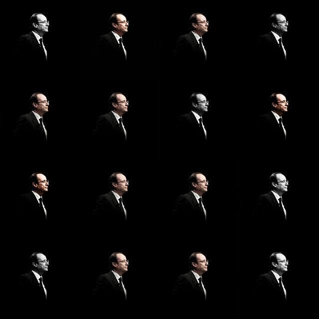 portrait white man black color face composition idea image politics creative tie icon montage concept patchwork visage buste françoishollande iconique