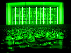 Utmost Importance... (tobysx70) Tags: canonpowershots90 canons90 canon powershot s90 digital london uk tate modern museum south bank art gallery bankside power station night nocturnal illuminated green puddle wet reflection toby hancock tobyhancock