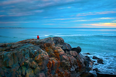 On the Last Day of the Year - in explore (SunnyDazzled) Tags: ocean sunset sea sky woman seascape cold beach nature rock coast seaside colorful view cloudy maine rocky formation shore coastline geology watcher ogunquit digitalcameraclub