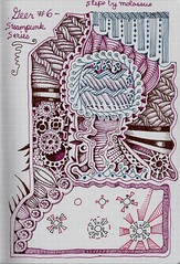 Geer #6-tangle pattern, steampunk series (molossus, who says Life Imitates Doodles) Tags: lamy whitelines noodlers diamine zentangle tanglepatterns steampunkseries