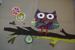 pieced owl, appliqued