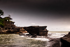 tanah lot (Josh Corke) Tags: ocean sea bali cloud water rock clouds indonesia temple rocks lot overcast hindu tanahlot tanah