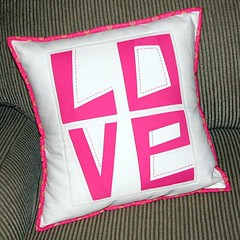 Love pillow cover (Sew-Fantastic) Tags: pink love square day embroidery valentine squareformat valentines normal etsy kona iphoneography instagramapp uploaded:by=instagram