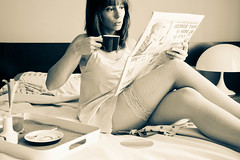 News and Coffee (marywilson's eye) Tags: morning bw white black coffee newspaper sunday tights sally selfie marywilson