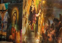Have mercy (colorstalker) Tags: street newyorkcity streetart color window collage brooklyn painting arty christ madonna jesus saints parkslope