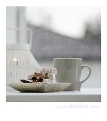 a cup of comfort for the weekend ~ (Iro {Ivy style33}) Tags: acupofcomfortplease stilllifephotography winter rainyday moodylight whitelantern greycup cupoftea sweets germanstollen woodenplate blogged photographybydomesticstorieswithivy