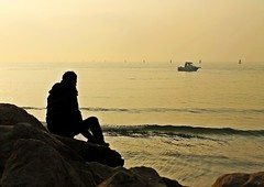 (cinzia_wuthering heights) Tags: sunset sea seaside tramonto mare grado friuli