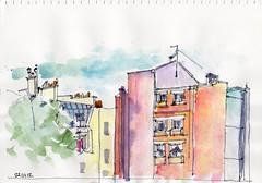 immeubles vus de dos (julietteplisson) Tags: paris watercolor sketch aquarelle croquis