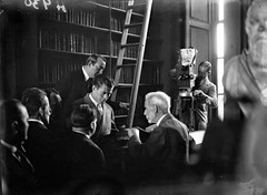 Gene Tunney at Trinity College (National Library of Ireland on The Commons) Tags: 1920s ireland dublin sports august books bust boxer 24 ladder boxing socrates friday 1928 trinitycollegedublin cameraman volumes twenties leinster tcd nationallibraryofireland genetunney newsreelcamera independentnewspaperscollection jamesjosephtunney worldheavyweightboxingchampion longroomlibrary