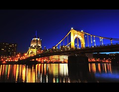 Roberto Clemente Bridge-Pittsburgh, PA- (Yohsuke_NIKON_Japan) Tags: longexposure usa night river nikon pittsburgh sigma bluesky pa nightview dust magichour 10mm robertoclementebridge bluemoment d300s mygearandme mygearandmepremium
