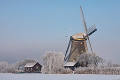 Winter in Holland (BraCom (Bram)) Tags: snow cold ice netherlands windmill hoarfrost nederland freezing unesco kinderdijk worldheritage ijs windmolen koud zuidholland rijp vriezen werelderfgoed leuropepittoresque bracom alblassserwaard