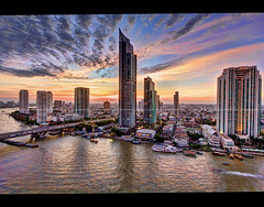 Bangkok's Striking New River Skyline #1 (I Prahin | www.southeastasia-images.com) Tags: bridge sunset urban color skyline skyscraper river thailand boats hotel boat apartments view apartment traffic riverside dusk bangkok skytrain hdr chaophraya bts theriver peninsulahotel thelighthouse thonburi shuttleboat tonemapped superaplus aplusphoto taksinbridge raimonland bestcapturesaoi therivercondominium