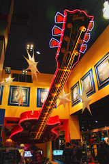 Hard Rock Cafe NYC (Gary Burke.) Tags: city nyc newyorkcity ny newyork canon eos rebel restaurant colorful neon guitar manhattan broadway landmark icon midtown timessquare gothamist dslr gibson hardrock hardrockcafe theaterdistrict garyburke klingon65 t1i canoneosrebelt1i lobbydiningcafetheme restaurantgibson