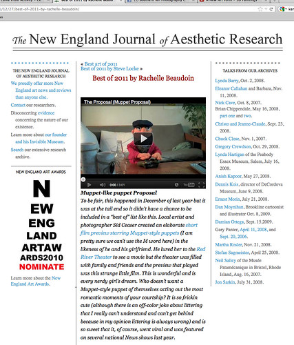 New England Journal of Aesthetic Research Best of 2011 by Rachelle Beaudoin