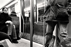 RER B (Charles SEGUY photography) Tags: people bw white black paris france men art train vintage subway photography lights reflex google nikon flickr artist noir photographer legs metro hard free effect souris blanc parisian rer labo useit creativecommon trix1600 paternit flickraward tousdroitsrservs d3100 charlesseguy lelabodelasouris wwwlelabodelasouriscom wwwcharliephotofr