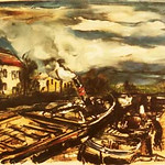 "<b>Canal and Boats</b><br/> Maurice de Vlaminck (1876-1958-) ""Canal and Boats"" Lithograph, n.d. LFAC #532<a href=""http://farm8.static.flickr.com/7170/6852264227_3a701020ae_o.jpg"" title=""High res"">∝</a>"