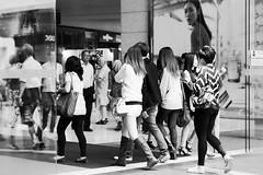 tunnel vision (yangkuo) Tags: people blackandwhite bw coach random entrance shoppingmall pavilion kualalumpur bukitbintang walkingby sprayandpray walksoflife mzuiko45mmf18