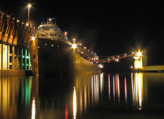 Night Time Loading (GLC 392) Tags: railroad lake night mi photography dock exposure ship time michigan superior steam company e barker steamship kaye ore marquette refelction interlake ishpeming